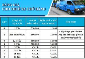 Bảng giá thuê xe tải 7 tấn