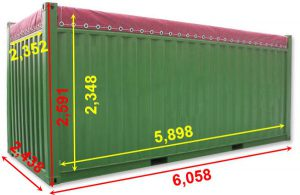 kích thước Container 20 feet Open Top hiện nay