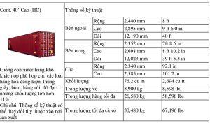 thông tin về kích thước của container 40 feet Cao– HC