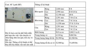 Chỉ số kỹ thuật về loại Cont 40 lạnh (RF)