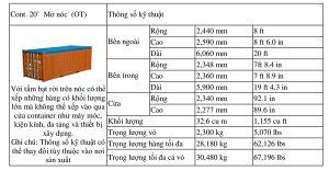 Chi tiết về kích thước container 20ft Onpen Top (OT)